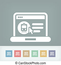 Booking train ticket on internet - Icon of booking train...