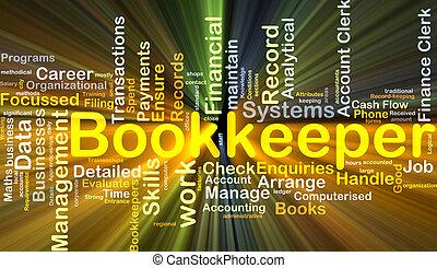bookkeeper, baggrund, begreb, glødende