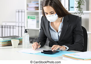 Bookkeeper with mask calculating with calculator
