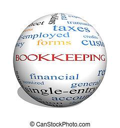 bookkeeping, 3d, 球, 詞, 雲, 概念