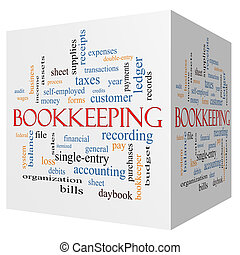 Bookkeeping 3D cube Word Cloud Concept with great terms such as financial, records, ledger and more.