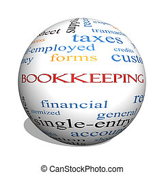 Bookkeeping 3D sphere Word Cloud Concept with great terms...