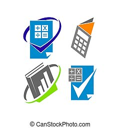 Bookkeeping Accounting Check logo design template vector set...