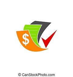Bookkeeping Accounting Money Check logo design vector...