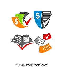Bookkeeping Accounting Paper logo design template vector set...