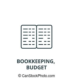 Bookkeeping, budget line icon, vector. Bookkeeping, budget outline sign, concept symbol, flat illustration