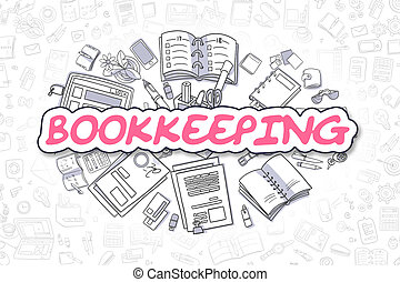 Bookkeeping - Cartoon Magenta Text. Business Concept. -...