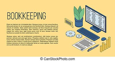 Bookkeeping concept banner, isometric style - Bookkeeping...