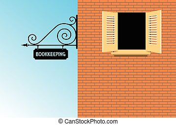 Sign Bookkeeping Office in the old style. Vector illustration.