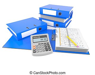 Bookkeeping - Ring binders with calculator isolated on white...