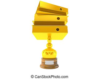 Bookkeeping trophy isolated on white background. 3d...