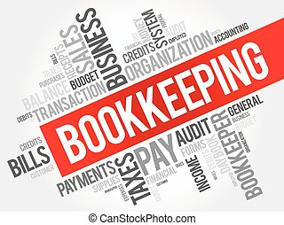Bookkeeping word cloud collage
