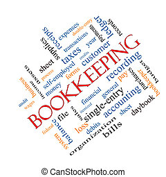 Bookkeeping Word Cloud Concept angled with great terms such as financial, records, ledger and more.