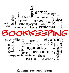 Bookkeeping Word Cloud Concept in red caps with great terms such as financial, records, ledger and more.