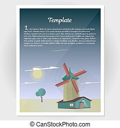 Booklet, flyer with a windmill vector illustration.