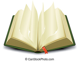 Illustration of a cartoon opened green book with flipping pages and a red bookmark