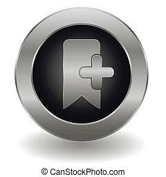 bookmark, botão, metálico