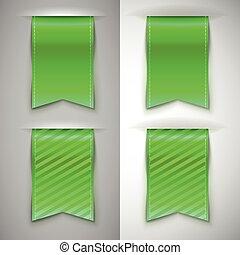 bookmark, fita, verde, livros