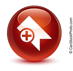 Bookmark icon glassy brown round button