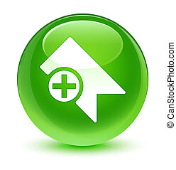 Bookmark icon glassy green round button
