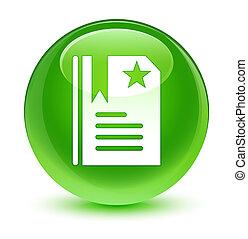 Bookmark icon glassy green round button