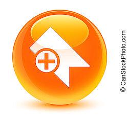 Bookmark icon glassy orange round button