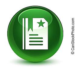 Bookmark icon glassy soft green round button