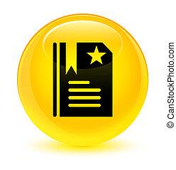 Bookmark icon glassy yellow round button