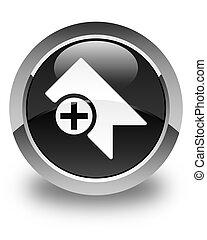 Bookmark icon glossy black round button