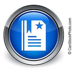 Bookmark icon glossy blue button