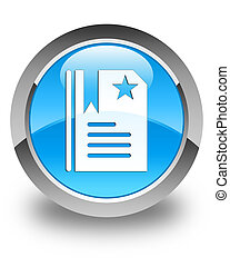 Bookmark icon glossy cyan blue round button