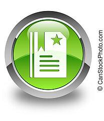 Bookmark icon glossy green round button 2