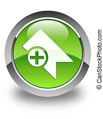 Bookmark icon glossy green round button