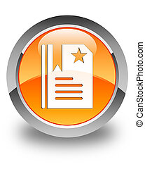 Bookmark icon glossy orange round button 2