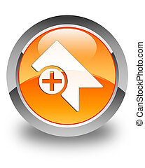 Bookmark icon glossy orange round button
