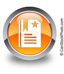 Bookmark icon glossy orange round button 2