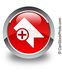 Bookmark icon glossy red round button