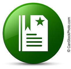 Bookmark icon green round button