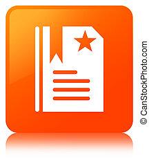 Bookmark icon orange square button