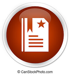 Bookmark icon premium brown round button