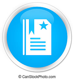 Bookmark icon premium cyan blue round button