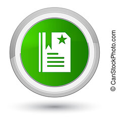 Bookmark icon prime green round button