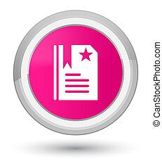 Bookmark icon prime pink round button