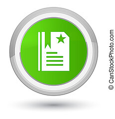 Bookmark icon prime soft green round button