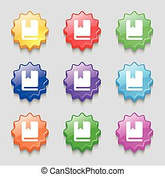 bookmark icon sign. symbol on nine wavy colourful buttons. Vector