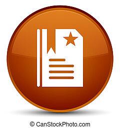 Bookmark icon special brown round button