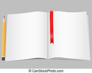 bookmark, lápis, páginas