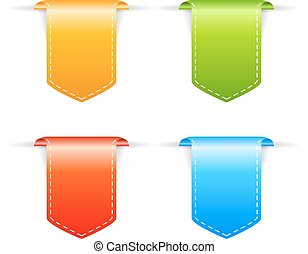 Bookmark ribbons set isolated on white background