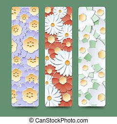 Bookmark set with blooming flower bouquetes