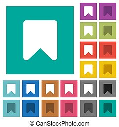 Bookmark square flat multi colored icons